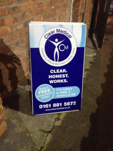 Clear Medical Business sign Chorlton Manchester